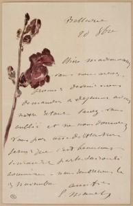 Lettre manuscrite de Manet
